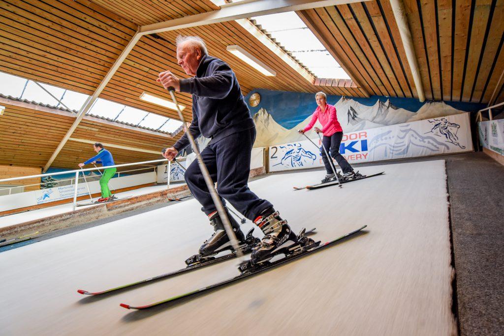 Leren skiën op rollerbaan